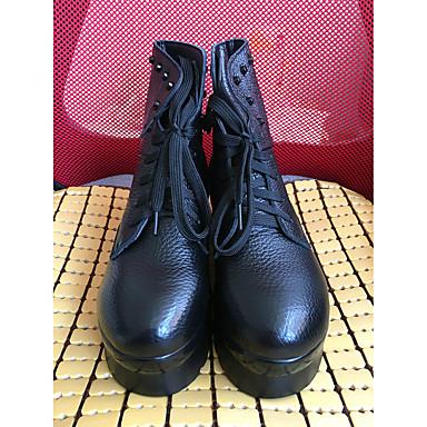 Feminino Sapatos Couro Outono Inverno Botas Rasteiro Para Preto