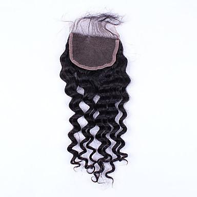 14inch de hand gebonden diepe golf vetersluiting onbewerkt haar remy human hair 4 * 4swiss kant