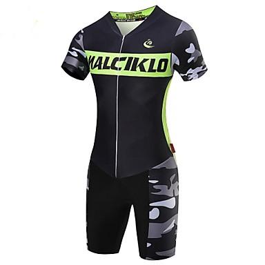 Malciklo Wielrenshirt met shorts Heren Korte Mouw Fietsen Triatlon/Triatlonpak Compressiekleding PakkenSneldrogend Rits Aan De Voorzijde