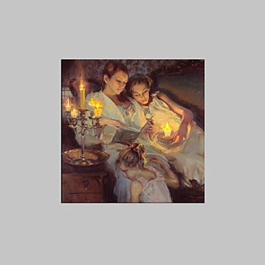 E-HOME® Stretched LED Canvas Print Art Sister Nestling Candlelight LED Flashing Optical Fiber Print One Pcs