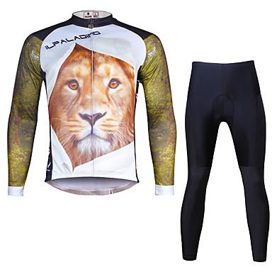 ILPALADINO Herrn Langarm Fahrradtrikots mit Fahrradhosen - Schwarz Fahhrad Kleidungs-Sets, 3D Pad, Rasche Trocknung, UV-resistant Lycra