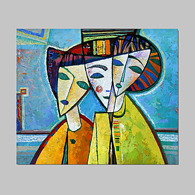 Hand-Painted People / Abstract Portrait One Panel Canvas Oil Painting For Home Decoration