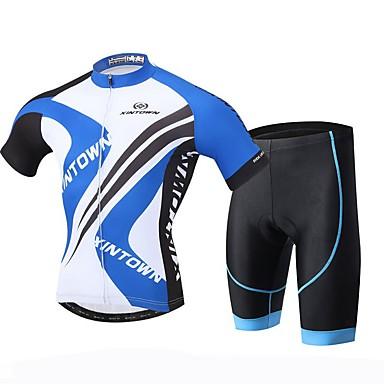 XINTOWN Herre Kortærmet Cykeltrøje og shorts Cykel Shorts Trøje Tøjsæt, Hurtigtørrende, Ultraviolet Resistent, Åndbart, Svedreducerende,