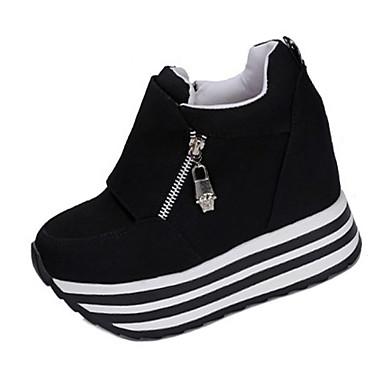 Damen Schuhe Stoff Frühling Herbst High Heels Walking Keilabsatz Reißverschluss für Normal Weiß Schwarz Rot