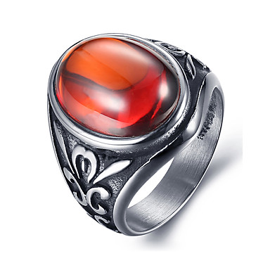 Heren Zirkonia Titanium Staal Statement Ring - Gepersonaliseerde Vintage Modieus Zwart Rood Groen Ring Voor Dagelijks Causaal