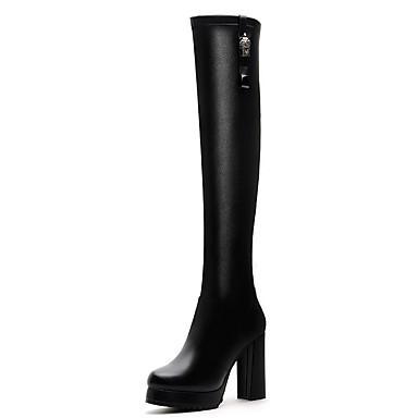 Bootsit-Leveä korko-Naisten-Synteettinen-Musta-Toimisto / Rento / Juhlat-Gladiaattori