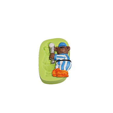 baseball bear sports teddy silicone mold fundant cake decoração ferramentas cor aleatória