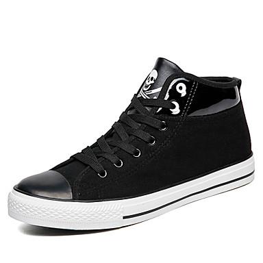 Støvler-KanvasHerre-Sort Grå-Fritid-Flad hæl