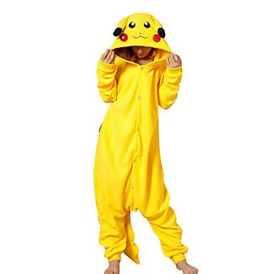 Pyžama Kigurumi Pika Pika Pyžamo Onesie Kostým polar fleece Žlutá Cosplay Pro Dospělé Animal Sleepwear Karikatura Halloween Festival /
