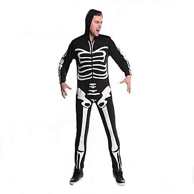 Fantasias de Cosplay Esqueleto/Caveira Cosplay de Filmes Collant/Pijama Macacão Dia Das Bruxas Natal Ano Novo Masculino