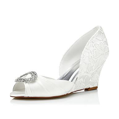 Damen Schuhe Seide Frühling Sommer Komfort Sandalen Keilabsatz Strass für Hochzeit Party & Festivität Kleid Elfenbein