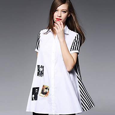 AJIDUO® Dame Krave Kort Ærme Shirt & bluse Ivory-A9379
