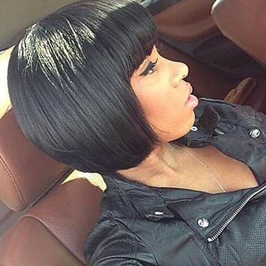 Ekte hår Helblonde Parykk Rett tetthet 100 % håndknyttet Afroamerikansk parykk Naturlig hårlinje Kort Medium Dame Blondeparykker med