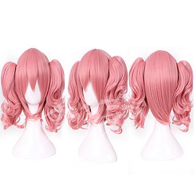 Pelucas sintéticas / Pelucas de Broma Recto Rosa Con coleta Pelo sintético Rosa Peluca Mujer Sin Tapa
