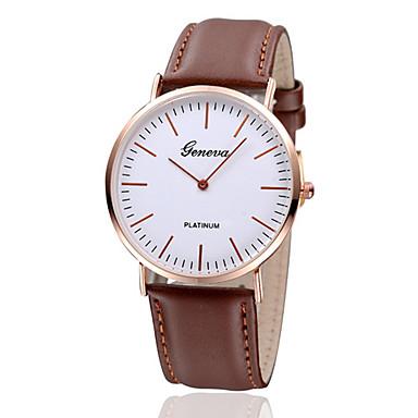 Mulheres Relógio de Pulso Relógio Casual Couro Banda Vintage / Minimalista / Fashion Preta / Marrom