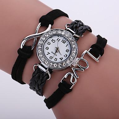Damen Armbanduhr Armband-Uhr Modeuhr Quartz Mehrfarbig Imitation Diamant PU Band Glanz Retro Freizeit Böhmische Schwarz Weiß Blau Rot