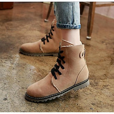 Feminino Sapatos Flanelado Primavera Outono Inverno Coturnos Botas Salto Grosso Salto de bloco Cadarço Para Preto Bege Azul Khaki