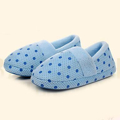 Feminino Sapatos Flanelado Inverno Conforto Chinelos e flip-flops Rasteiro Ponta Redonda Para Casual Roxo Azul Rosa claro