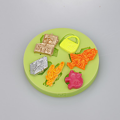 6 holte vrouwen tas dingen siliconen schimmel voor fondant cake decoratie tools kleur willekeurig