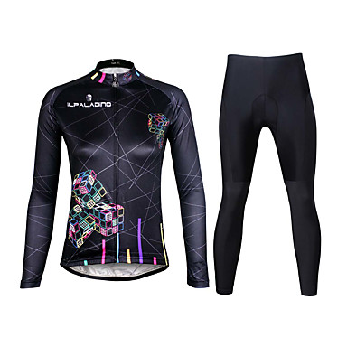ILPALADINO Damen Langarm Fahrradtrikots mit Fahrradhosen - Schwarz Fahhrad Kleidungs-Sets, 3D Pad, Rasche Trocknung, UV-resistant, Atmungsaktiv, Reflexstreiffen Lycra Linien / Wellen / Dehnbar