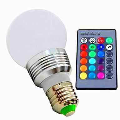 1pc 3 W 180 lm E26 / E27 Smart LED-lampe A60(A19) 1 LED perler Høyeffekts-LED Mulighet for demping / Fjernstyrt / Dekorativ RGB 85-265 V / 1 stk. / RoHs