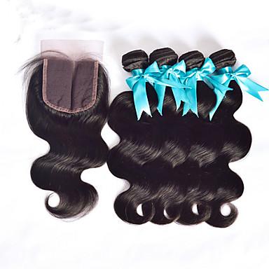 Peruviansk hår Lige / Krop Bølge Menneskehår Hårstykke med lukning Menneskehår Vævninger Menneskehår Extensions