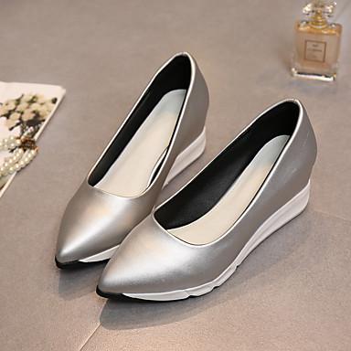 Feminino Sapatos Borracha Primavera Outono Saltos Sem Salto Para Casual Preto Prata