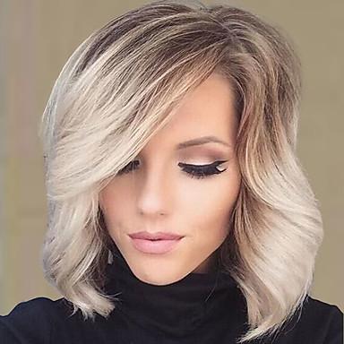 pelucas onduladas encanto natural con flequillo virginal del pelo humano color mezclado 14 pulgadas