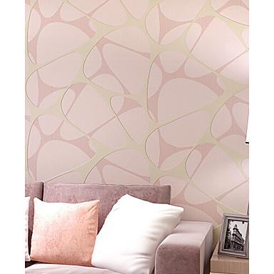 Damast Bloemen Art Deco 3D Gestreept Behang voor thuis Hedendaags Behangen , Niet-geweven stof Materiaal lijm nodig behang , Kamer