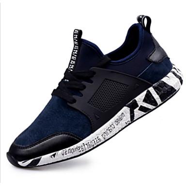 Masculino-Tênis-Conforto-Rasteiro-Preto Azul-Couro Ecológico-Para Esporte