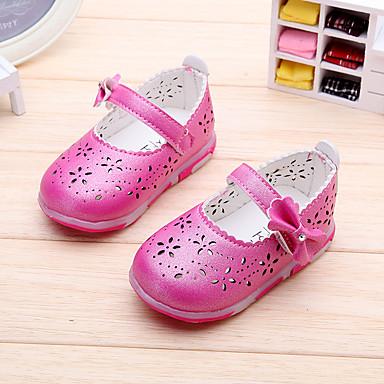Para Meninas Bebê Sapatos Courino Primavera Verão Outono Rasos Rasteiro Laço Velcro Para Branco Fúcsia Rosa claro