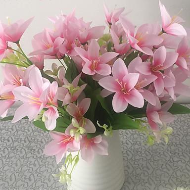1 1 Tak Polyester / Kunststof Lelies Bloemen voor op tafel Kunstbloemen 13.7inch/35cm