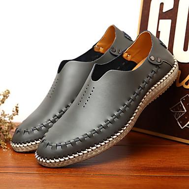 Masculino sapatos Couro Verão Conforto Mocassins e Slip-Ons Para Casual Azul Escuro Marron Cinza Claro