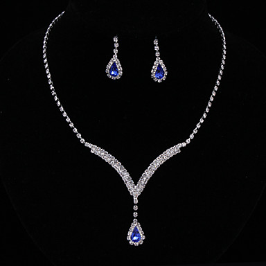 Women's AAA Cubic Zirconia Synthetic Sapphire Jewelry Set - Cubic Zirconia Drop Fashion, Elegant Include Drop Earrings Choker Necklace Bridal Jewelry Sets Blue For Wedding Anniversary Party Evening