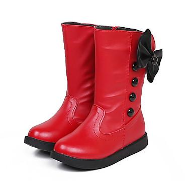 Para Meninas Sapatos Couro Ecológico Inverno Coturnos Botas Ziper para Branco / Preto / Vermelho