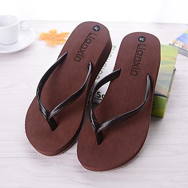 Feminino Sapatos PVC Verão Outono Conforto Chinelos e flip-flops Rasteiro Para Casual Branco Preto Marron