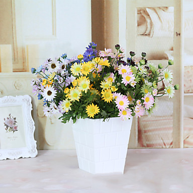 1 Tak Polyester Madeliefjes Bloemen voor op tafel Kunstbloemen