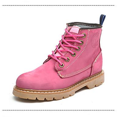 Unissex Sapatos Camurça Outono Inverno Coturnos Botas Aventura Salto Grosso Cadarço Para Atlético Casual Preto Amarelo Vermelho Rosa