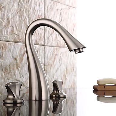 Torneira pia do banheiro - Pré Enxaguada / Separada Níquel Escovado Difundido Duas alças de um furo
