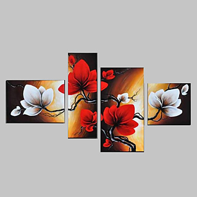 Hand-Painted Sky Red Flowers Abstract Landscape Wall Decor Oil Painting on Canvas 4pcs/set No Frame