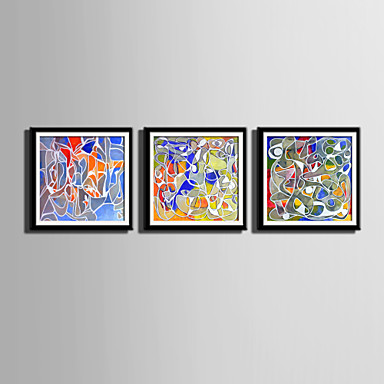E-HOME® Framed Canvas Art, Fantasy Colors Framed Canvas Print Set Of 3
