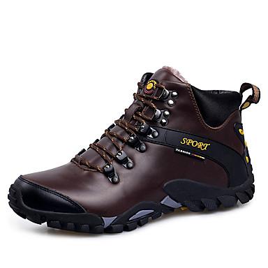Homens sapatos Couro Outono Inverno Tênis Aventura para Ao ar livre Preto Marron