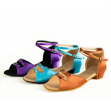 Zapatos de Baile Latino Satén Tacones Alto Hebilla Tacón Cubano No Personalizables Zapatos de baile Morado / Marrón / Azul Claro / Interior / Cuero