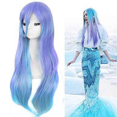 Synthetische Perücken / Perücken Glatt Synthetische Haare Gefärbte Haarspitzen (Ombré Hair) Blau Perücke Damen Lang / Sehr lang Wasser-Blau