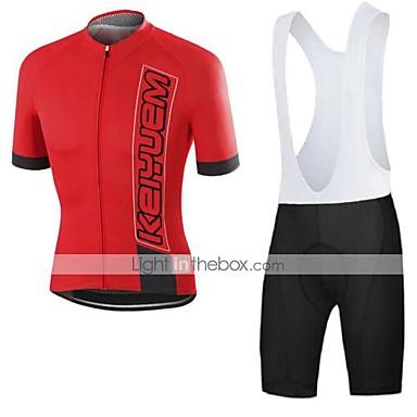 KEIYUEM Kort Ærme Cykeltrøje og shorts med seler Unisex Cykel Tøjsæt/JakkesætÅndbart Hurtigtørrende Støv-sikker Påførelig Komprimering