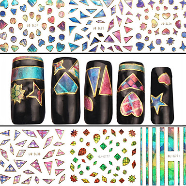 4 Neglekunst Klistermærke 3D Negle Stickere Abstrakt Makeup Kosmetik Neglekunst Design