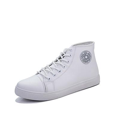 メンズ 靴 PUレザー 春 秋 冬 コンフォートシューズ スニーカー 用途 カジュアル ホワイト ブラック