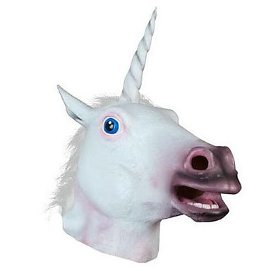 Halloween-masker Dyremaske Unicorn Gysertema Polycarbonat Latex Gummi 1pcs Stk. Voksne Gave