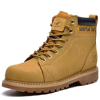 Hombre Zapatos Cuero de Napa Primavera / Verano / Otoño Oxfords Tacón Plano Con Cordón Amarillo / Marrón Topo