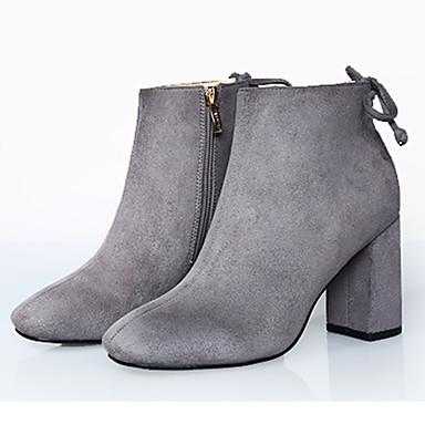 Støvler-Stof-Hæle / Combat-støvler / Modestøvler-Dame-Sort / Grå-Udendørs / Kontor / Hverdag-Tyk hæl